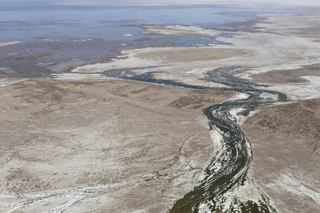 A photo taken in May by Francisco Zamora of the Tucson, Ariz.-based Sonoran Institute shows the Colorado River meeting tidal waters from the Gulf of California for the first time in about 20 years ...