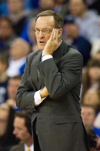 Nov 19, 2014; Omaha, NE, USA; Oklahoma Sooners head coach Lon Kruger watches against the Creighton Bluejays at CenturyLink Center Omaha on Nov. 19, 2014. Creighton defeated Oklahoma 65-63. (Steven ...