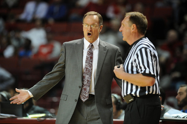 Oklahoma Sooners head coach Lon Kruger reacts to a call in action against the Oral Roberts Golden Eagles during the first half at Lloyd Noble Center in Norman on Dec. 16, 2014. (Mark D. Smith-USA  ...