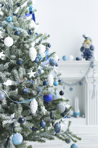 Thinkstock Blue and silver decor is a sophisticated take on winter wonderland with a frosty effect.