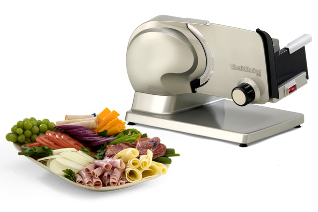 Courtesy Chef'sChoice The Chef'sChoice Premium Electric Food Slicer Model 615 will help to quickly and easily slice a wide variety of foods, including meat, vegetables, bread and cheese.