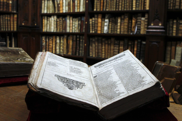 The newly discovered Shakespeare's original first folio is seen in the Saint-Omer library, northern France, Wednesday, Nov. 26, 2014. The accidental discovery in the small library in northern Fran ...