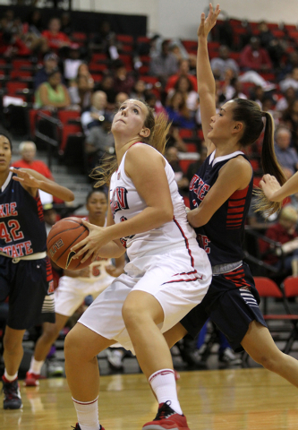 UNLV women's basketball senior forward Alana Cesarz (24) looks to shoot in front of Dixie State guard Gabrielle Cabanero in the first half of an exhibition game at the Cox Pavilion Monday, Nov. 10 ...