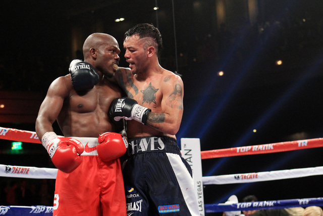 Diego Chaves embraces Timothy Bradley at the end of their fight Saturday, Dec. 13, 2015 at the Cosmopolitan. After 12 rounds, the fight ended in a draw. (Sam Morris/Las Vegas Review-Journal)