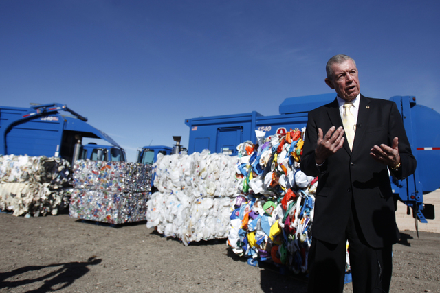 Bob Coyle, vice president of government affairs for Republic Services, is interviewed during a groundbreaking ceremony for the new Southern Nevada Recycling Complex in North Las Vegas Thursday, No ...