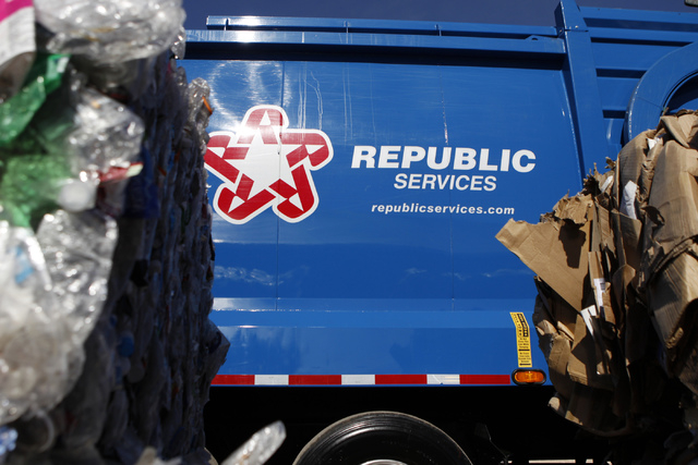A garbage truck is seen on display during the groundbreaking ceremony for the new Republic Services Southern Nevada Recycling Complex in North Las Vegas Thursday, Nov. 6, 2104. The facility will b ...