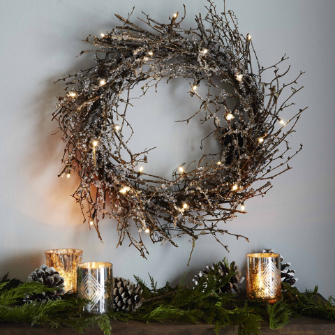 Courtesy West Elm Battery-powered LED lights and glitter turn this twig wreath from West Elm into holiday art. Besides the beloved evergreen standard, each year sees more and more inventive versio ...