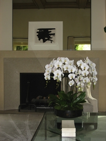 Courtesy Interior Gardens White cascading Phalaenopsis orchids show off their blooms in the simple, elegant arrangement.