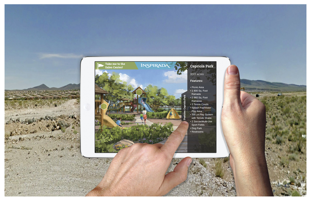 Courtesy photo Visitors can download the Inspirada virtual reality app at the Overlook, located off Bicentennial Parkway in the Inspirada master-planned community in Henderson.