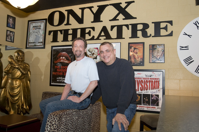 Randy Lange, left, and Michael Morse, co-owners of the Rack in the Commercial Center, pose for a photograph in 2010 at the Onyx Theatre inside the fetish shop. (Las Vegas Review-Journal file photo)