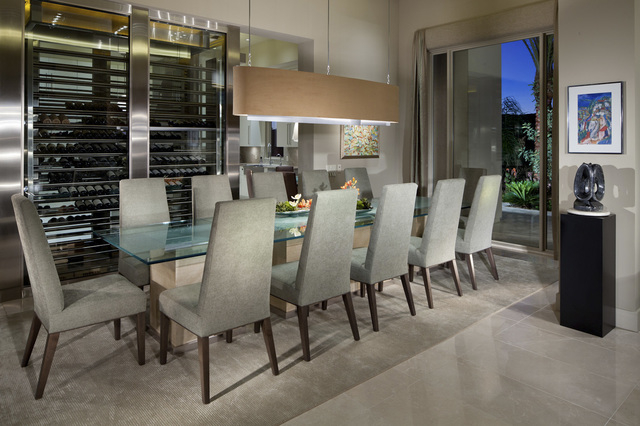Las Vegas interior designer Cary Vogel helped a client design this modern formal dining room with a wine wall. (Courtesy photo)