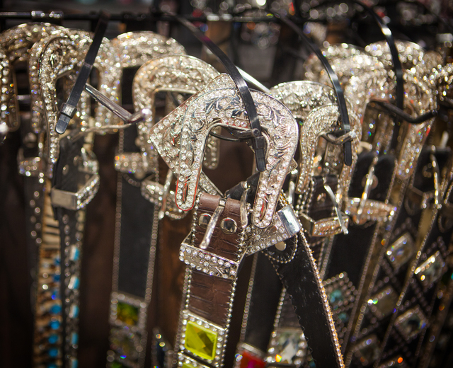 Custom designed belts is seen in the Cowgirl Glitter booth  on Tuesday, Dec. 9,2014 during the  Cowboy Christmas Gift show in the Las Vegas Convention Center. (Jeff Scheid/Las Vegas Review-Journal)