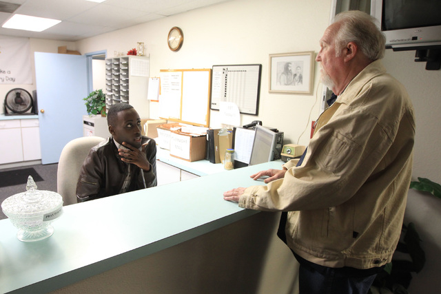 Alain Ndemeye, who is enrolled in a drug treatment program, talks with Bradley Kubilis at the Las Vegas Rescue Mission. (Sam Morris/View)