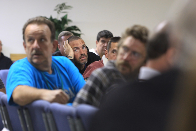Men listen to a speaker Dec. 4 during a recovery program meeting at the Las Vegas Rescue Mission, 480 E. Bonanza Road. (Sam Morris/View)