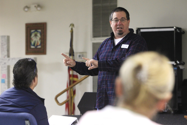 Pastor Jeff Chaves leads a recovery program meeting Dec. 4 at the Las Vegas Rescue Mission. The nondenominational, faith-based program lasts one year. (Sam Morris/View)