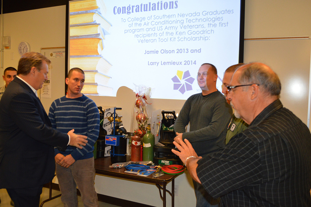 From left, Kenneth D. Goodrich, Army Specialist Larry Lemeieux, Army Specialist Jamie Olson, Major Scott Wood and Dennis Sokup at a gathering to celebrate Olson and Lemieux becoming the first reci ...