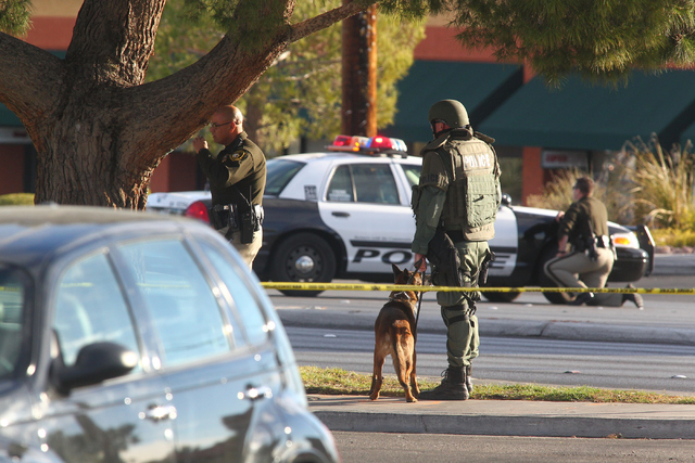 Las Vegas police and SWAT respond to the scene where an armed suicidal man threatens to kill himself during a standoff on Decatur Boulevard near Charleston Boulevard in Las Vegas on Monday, Dec. 1 ...