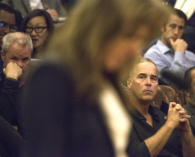 Blake L. Sartini, right, CEO of Golden Gaming, listen while Virginia Valentine with Nevada Resort Association speak during the  Clark County Commissioners slot only tavern ordinance hearing on Tue ...