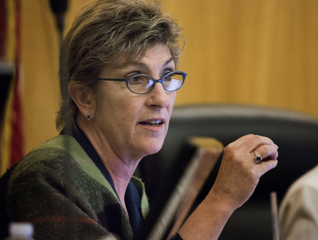 Clark County Commissioner Chris Giunchigliani aspeaks during discuss the slot only tavern ordinance hearing on Tuesday, Dec. 02, 2014. A pack chambers heard an ordinance to change slot only tavern ...