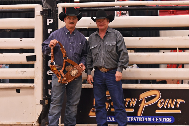 Stace Smith, left, and Rorey Lemmel co-produced the World Bucking Futurity Finale at South Point this month for Smith Pro Rodeos.  (Courtesy/Dale Miller)