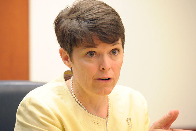 Erin Cranor, candidate for Clark County School Board District G, speaks with the Review-Journal editorial board on Wednesday, July 2, 2014. Her opponent, Joe Spencer, on Thursday, Oct.23, filed an ...