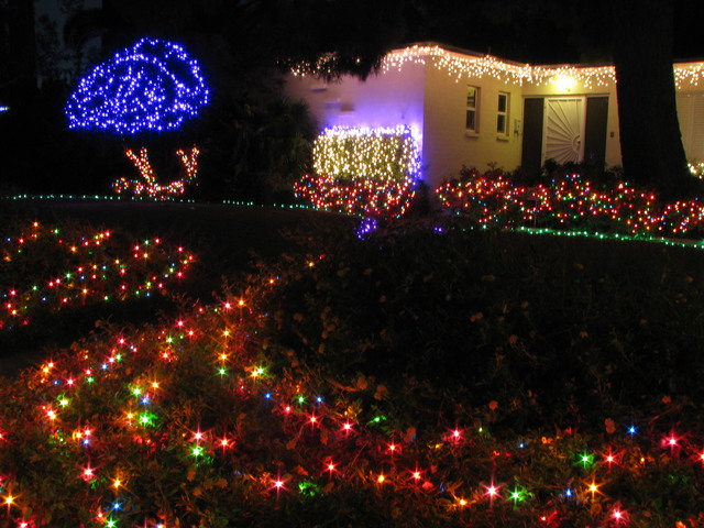 The holiday lights on an east valley home at the corner of Franklin Avenue and Seventh Street highlight its landscaping. (F. Andrew Taylor/View)