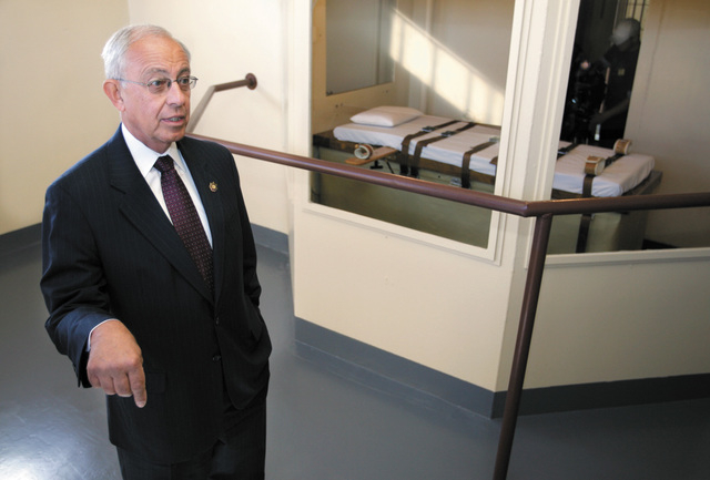 Nevada Department of Corrections Director Howard Skolnik is seen in this Oct. 2007 file photo from the execution chamber at the Nevada State Prison. During a budget hearing  Thursday, April 23, 20 ...