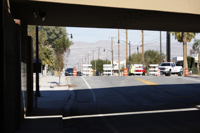 The underpass near  F Street and McWilliams Avenue beneath Interstate 15 in Las Vegas is seen on Wednesday, Dec. 10, 2014. The street project connecting historic West Las Vegas and downtown is sch ...