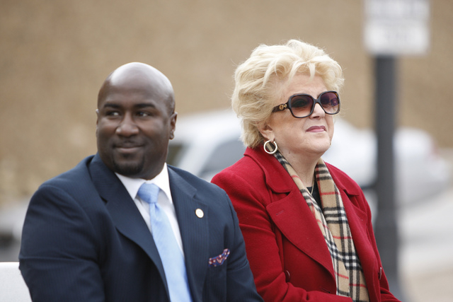Las Vegas Councilman Ricki Barlow, left, and Mayor Carolyn Goodman, participate during the reopening ceremony of F Street in Las Vegas near McWilliams Avenue and beneath Interstate 15 in Las Vegas ...
