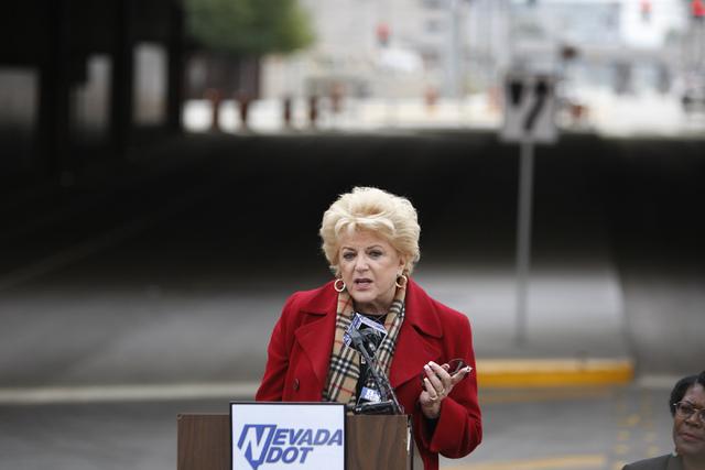 Las Vegas Mayor Carolyn Goodman speaks during the reopening ceremony of F Street in Las Vegas near McWilliams Avenue and beneath Interstate 15 in Las Vegas Thursday, Dec. 11, 2014. Community leade ...