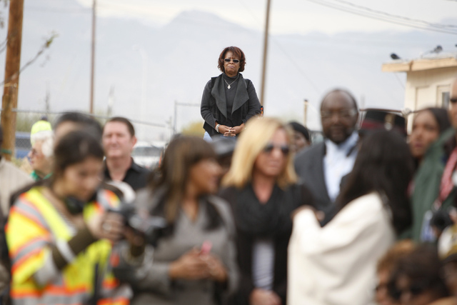 Community member Brenda Flank listens during the reopening ceremony of F Street in Las Vegas near McWilliams Avenue and beneath Interstate 15 in Las Vegas Thursday, Dec. 11, 2014. Community leader ...