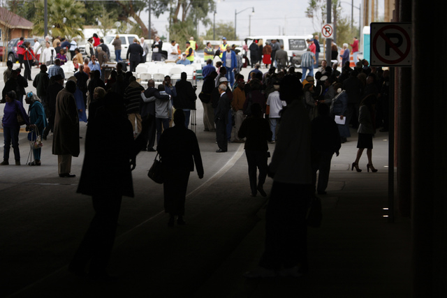 People tour the F Street underpass during the reopening ceremony of F Street in Las Vegas near McWilliams Avenue and beneath Interstate 15 in Las Vegas Thursday, Dec. 11, 2014. Community leaders a ...