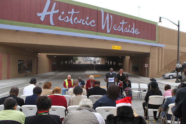 Pastor Sylvester Rogers speaks during the reopening ceremony of F Street in Las Vegas near McWilliams Avenue and beneath Interstate 15 in Las Vegas Thursday, Dec. 11, 2014. Community leaders and g ...