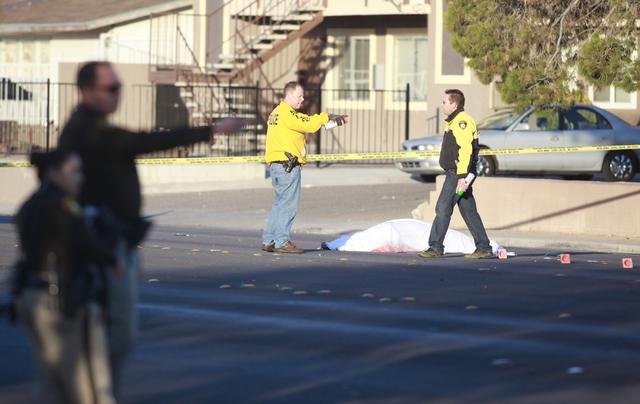 Las Vegas police investigate the scene of a fatal vehicle-pedestrian crash on Lake Mead Boulevard at Linn Lane, east of Nellis Boulevard, in Las Vegas on Tuesday, Dec. 9, 2014. (Chase Stevens/Las  ...