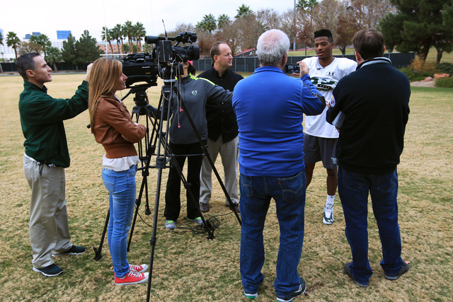 Colorado State wide receiver Rashard Higgins talks to the media after the Rams practice Wednesday, Dec. 17, 2014 at Rebel Park at UNLV. (Sam Morris/Las Vegas Review-Journal)