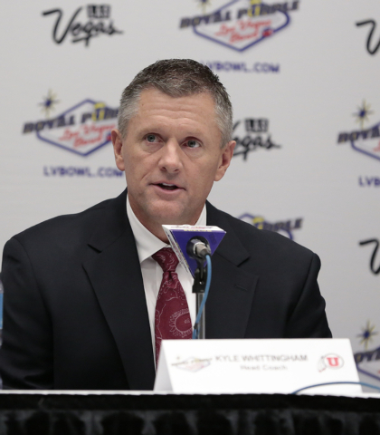 University of Utah head coach Kyle Whittingham - responds to reporters questions during a press conference prior to the Royal Purple Las Vegas Bowl, in the Las Vegas Convention Center, Las Vegas,  ...