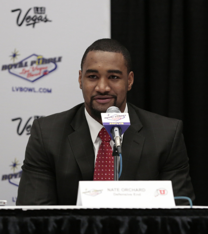 University of Utah defensive end Nate Orchard, responds to reporters questions during a press conference prior to the Royal Purple Las Vegas Bowl, in the Las Vegas Convention Center, Las Vegas, Fr ...