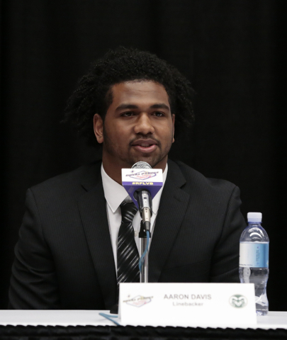 Colorado State University linebacker Aaron Davis answers a question directed to him during a press conference prior to the Royal Purple Las Vegas Bowl, in the Las Vegas Convention Center, Las Vega ...