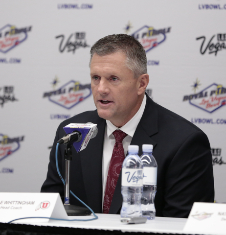 University of Utah head coach Kyle Whittingham - responds to reporters question during a press conference prior to the Royal Purple Las Vegas Bowl, in the Las Vegas Convention Center, Las Vegas, F ...