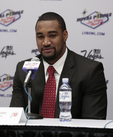 University of Utah defensive end Nate Orchard responds to a reporters question during a press conference prior to the Royal Purple Las Vegas Bowl, in the Las Vegas Convention Center, Las Vegas, Fr ...