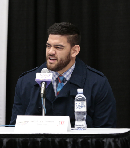 University of Utah, Weslee Tonga -tight end responds to a reporters question during a press conference prior to the Royal Purple Las Vegas Bowl, in the Las Vegas Convention Center, Las Vegas, Frid ...