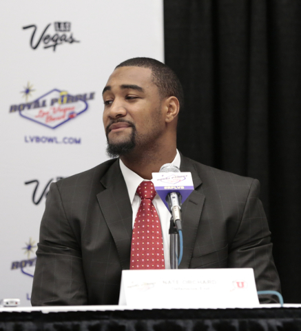 University of Utah defensive end Nate Orchard listens to a reporters question during a press conference prior to the Royal Purple Las Vegas Bowl, in the Las Vegas Convention Center, Las Vegas, Fri ...