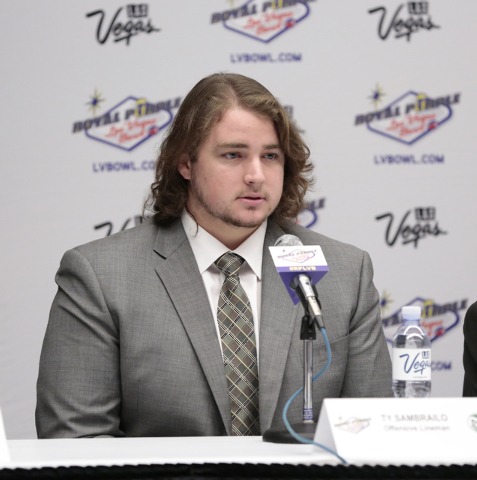 Colorado State University offensive lineman Ty Sambrailo, responds to a question directed to him, during the kickoff media conference prior to the Royal Purple Las Vegas Bowl, in the Las Vegas Con ...