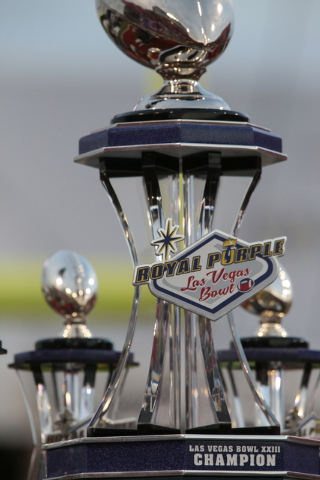 The winning trophy waits to be presented at the end of the  Royal Purple Las Vegas Bowl at Sam Boyd Stadium, Las Vegas, Saturday, Dec. 20, 2014. (Donavon Lockett/Las Vegas Review-Journal)