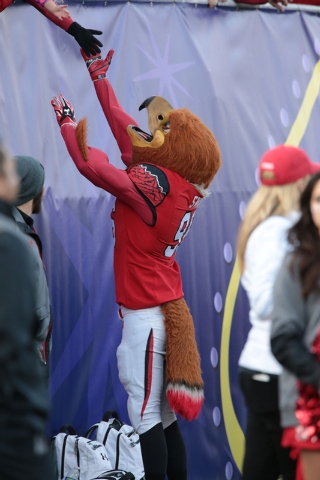 University of Utah's mascot, Swoop, interacts with a fix fans during the second half of the  Royal Purple Las Vegas Bowl at Sam Boyd Stadium, Las Vegas, Saturday, Dec. 20, 2014. (Donavon Lockett/L ...