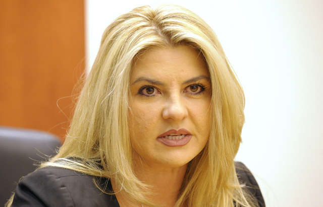 Michele Fiore, candidate for Assembly District  4, speaks to the Las Vegas Review-Journal editorial board on Thursday, September 25,  2014. (Mark Damon/Las Vegas Review-Journal)