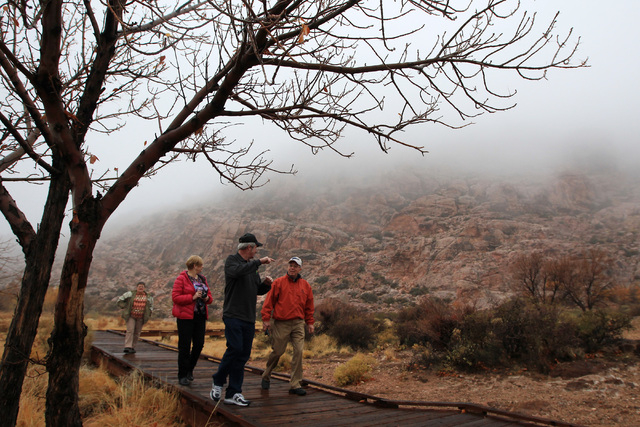 Larry Hottman, right, Bernie Berens, Carolyn Berens and Carrie Melander, left, all from Salina, Kansas, stroll the fog shrouded boardwalk in Red Spring at Calico Basin Wednesday, Dec. 3, 2014. (Sa ...