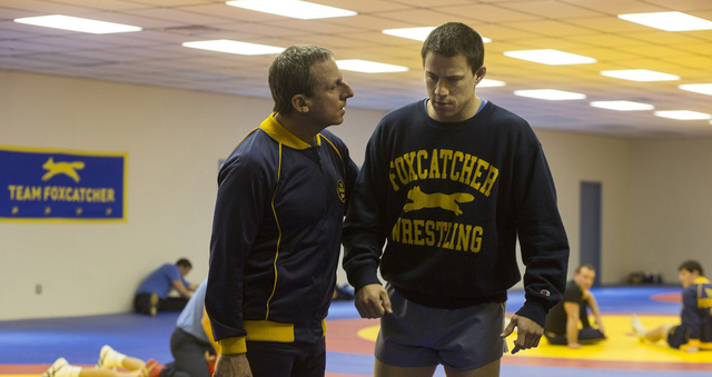 "Steve Carell, left, portrays John du Pont and Channing Tatum is Mark Schultz in ""Foxcatcher."" (Courtesy)"