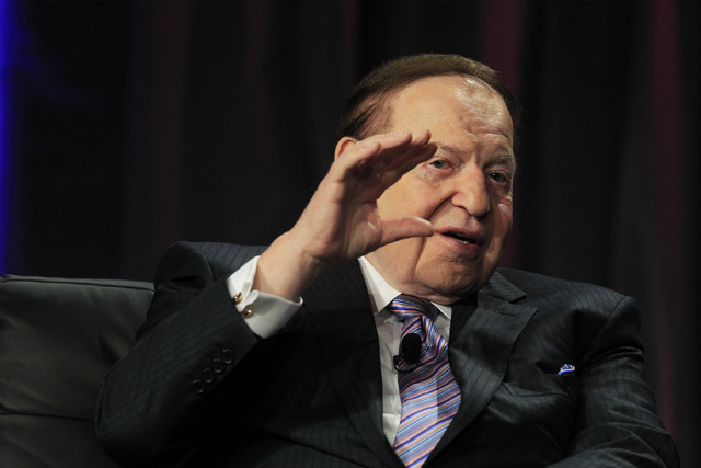 Las Vegas Sands CEO Sheldon Adelson delivers a keynote address at Global Gaming Expo Wednesday, Oct. 1, 2014 at the Sands Convention Center. (Sam Morris/Las Vegas Review-Journal)