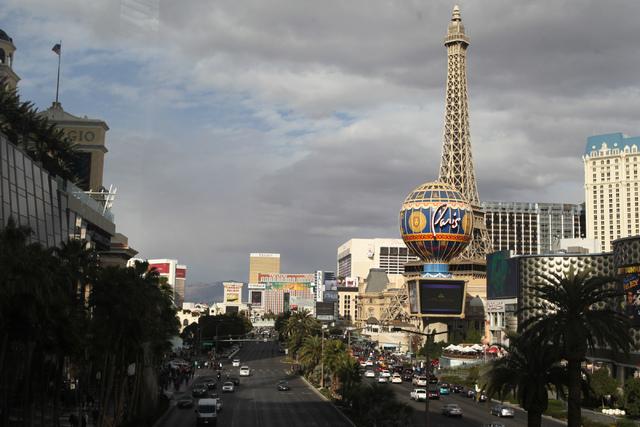 The Strip in Las Vegas is seen from the intersection of Harmon Avenue and Las Vegas Boulevard in Las Vegas Tuesday, Dec. 30, 2014. (Erik Verduzco/Las Vegas Review-Journal)